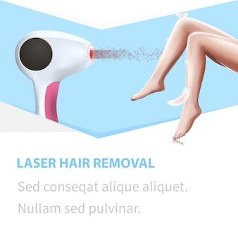 Depilação à laser. pena leve toque pernas de mulher