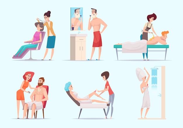 Depilação corporal. homem e mulher depilação a laser pele tratamento conjunto de ilustração vetorial exata. depilação masculina e feminina, depilação beleza corporal e depilação