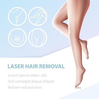 Depilação suave pernas epiladas com laser ferramenta