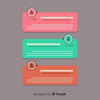 Depoimento criativo no design da bolha do discurso