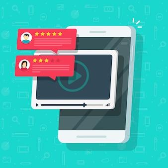 Depoimentos de revisão de conteúdo de vídeo on-line no celular ou ilustração de cartoon plana de avaliação de bate-papo com taxa de feedback e reputação