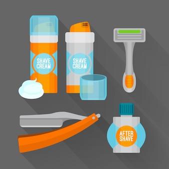 Depois de barbear conjunto de ícones simples. navalha de barbear, espuma de barbear, ícones de bálsamo depois de barbear. Vetor Premium