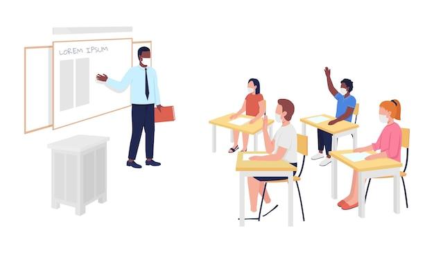 Depois de corona escola classe personagem de vetor de cor semi plana. figuras de sala de aula e alunos. pessoas de corpo inteiro em branco. ilustração de estilo cartoon moderno isolado escola para design gráfico e animação