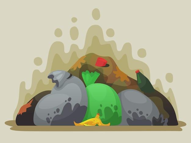 Depósito de lixo. lixo fedorento em sacos de lixo, lixões da cidade e pilha de ilustração dos desenhos animados de lixo