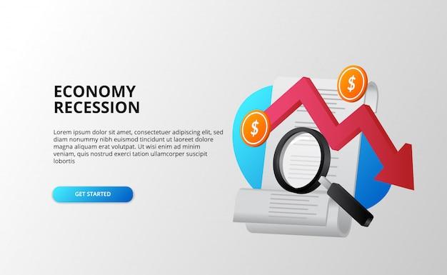 Depressão econômica e conceito de análise de crise financeira de recessão com contas de seta vermelha de tendência de baixa, lupa e moeda de dólar. modelo de página de destino