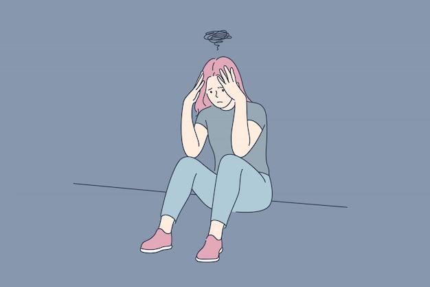 Depressão, fadiga, estresse mental, conceito de frustração