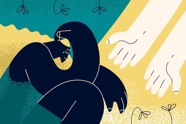 Depressão, mão amiga, conceito de luto