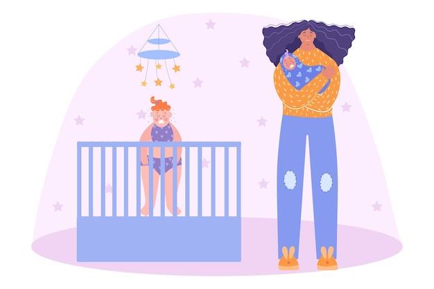 Depressão pós-parto. mulher com um bebê chorando nos braços. cansada mãe de dois filhos.