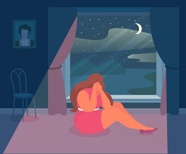 Depressão triste da mulher, ilustração. pessoa dos desenhos animados deprimida e emoção de tristeza, personagem sozinha. tristeza