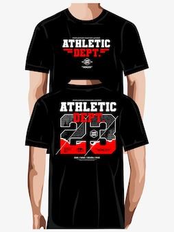 Dept atlético tipografia tshirt design vector premium