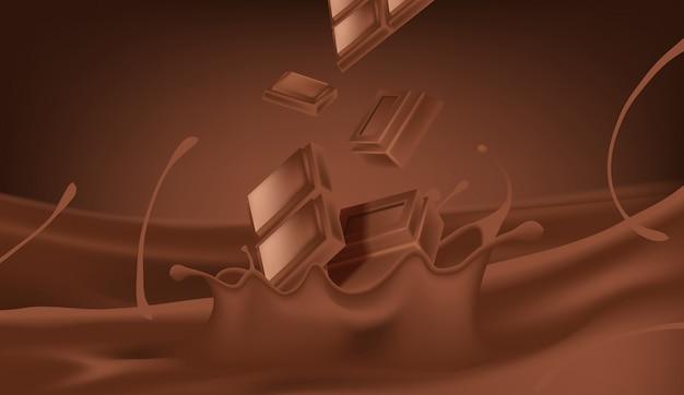 Derramamento realista e respingo de leite com chocolate