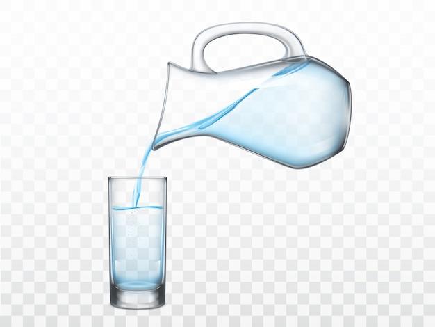 Derramar água doce do jarro em vidro