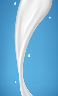 Derramar leite sobre fundo azul. ilustração