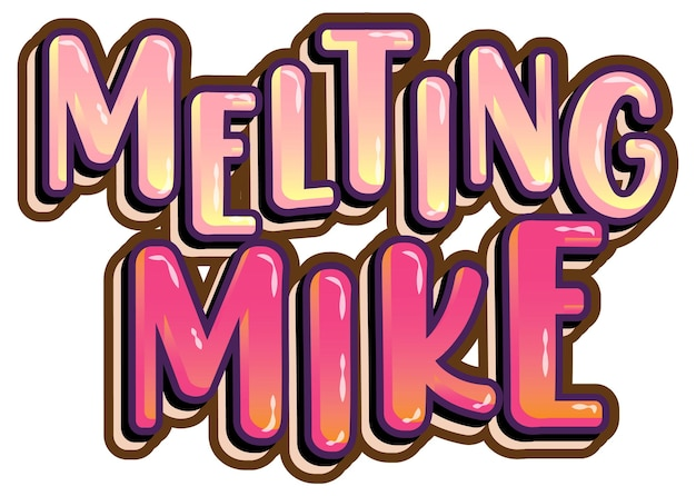 Derretendo o logotipo da palavra mike em fundo branco