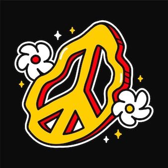 Derretendo o símbolo hippie deformado e flores para camisetas, impressão de t-shirt. vetorial mão desenhada linha ilustração dos desenhos animados do estilo dos anos 70. sinal da paz hippie dos anos 60, 70, flores, impressão de estrelas para camiseta, pôster, conceito do cartão