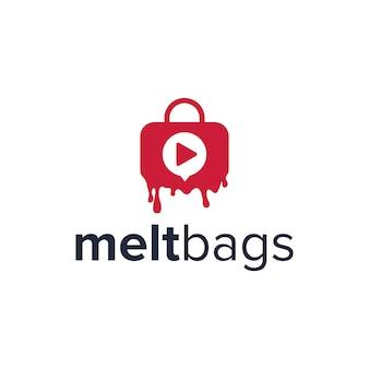 Derreter sacos com botão play simples, elegante, criativo, geométrico, moderno, logotipo, design