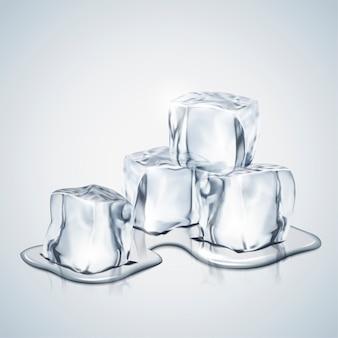 Derretimento de cubos de gelo em ilustração 3d para uso em design