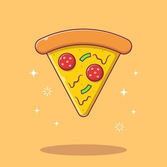 Derretimento de queijo pizza plana ilustração dos desenhos animados.