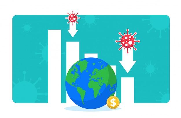Desaceleração econômica devido ao bloqueio de segurança durante a pandemia de covid-19. gráfico de barras e flechas descendo, globo e cifrão. produção, vendas, queda de investimentos. impacto do coronavírus na economia global.