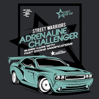 Desafiador de adrenalina, ilustração de carro super rápido
