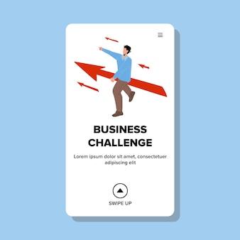 Desafio de negócios, estratégia e vetor de processo. empresário aceitar o desafio do negócio e voar na seta para a realização. personagem de sucesso trabalho carreira web flat cartoon ilustração