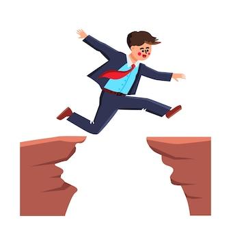 Desafio do empresário pulando sobre o abismo