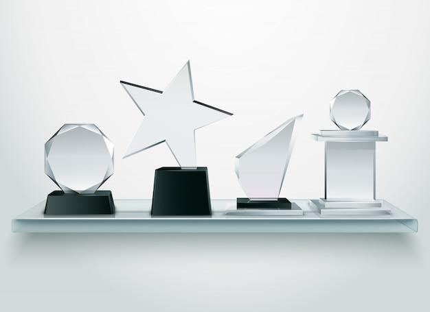 Desafio e competições esportivas vencedores prêmios coleção de troféus de vidro