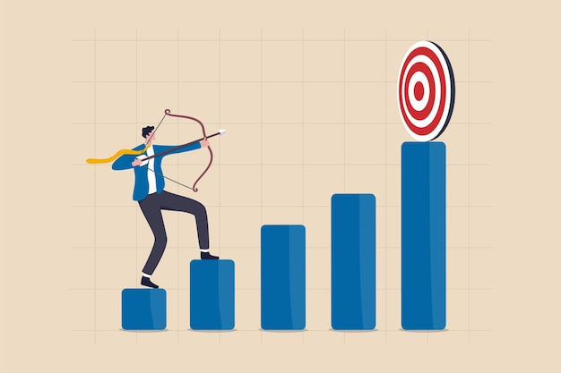 Desafio empresarial para atingir uma meta mais elevada, ambição e aspiração para melhorar ou visando o conceito de meta de sucesso, empresário de confiança apontando sua flecha de arco para o topo da meta de alto desempenho.