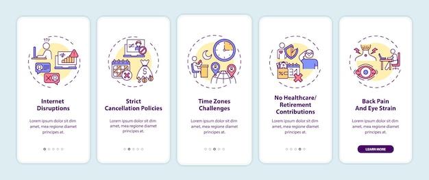 Desafios de ensino de inglês online na tela da página do aplicativo móvel com conceitos. etapas de acompanhamento de interrupções da internet. modelo de iu com cor rgb