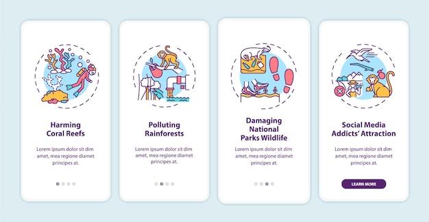 Desafios do turismo verde integrando a tela da página do aplicativo móvel com conceitos