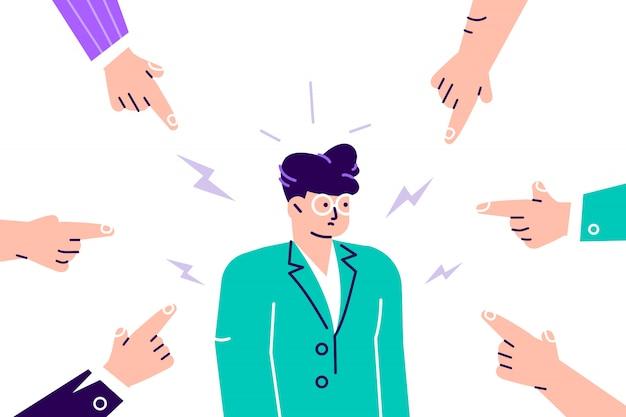 Desaprovação social. mulher jovem triste ou deprimida, rodeada por mãos com os dedos apontando para ela. colcha, acusação, censura pública e conceito de culpa das vítimas. ilustração plana dos desenhos animados