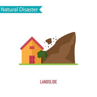 Desastre de deslizamento de terra no conceito de design plano