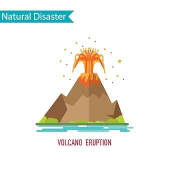 Desastre de erupção do vulcão no conceito de design plano