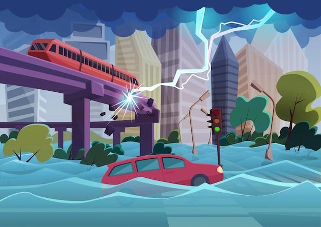 Desastre natural de inundação e tempestade em cidade moderna