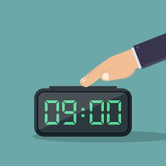 Desativar o despertador digital ilustração design plano