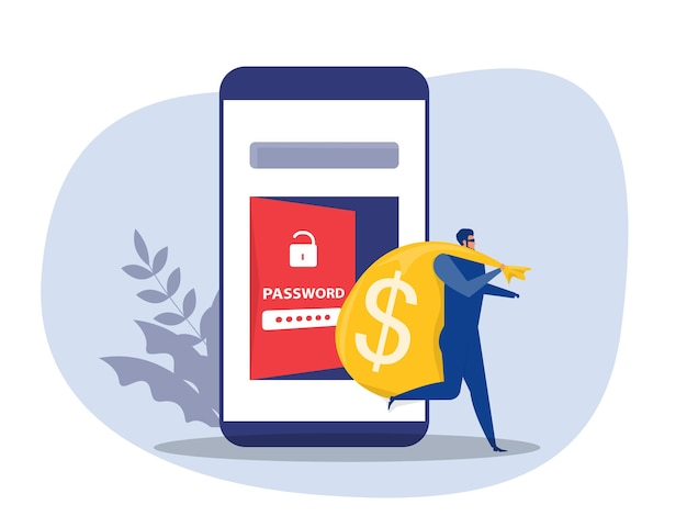 Desbloquear senha hacker carregando bolsa com dinheiro da ilustração vetorial de desbloqueio de telefone