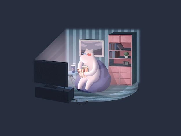 Descansando e assistindo a um filme na ilustração do sofá