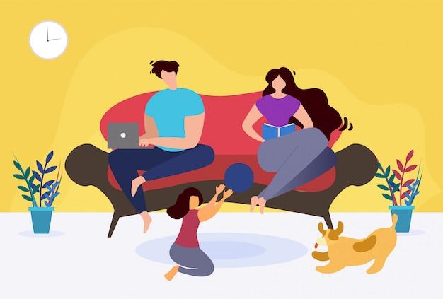 Descanse e relaxe em casa desenhos animados temáticos da família.
