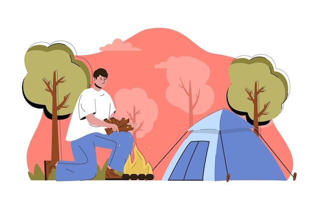 Descanse no conceito de natureza, homem descansando na floresta com tenda