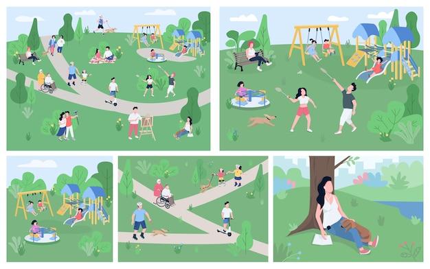 Descanse no conjunto de ilustrações coloridas planas do parque. personagens de desenhos animados 2d desfrutando de atividades ao ar livre, relaxe no campo. equipamentos de playground para crianças, paisagem de parque nacional recreativo