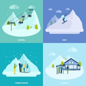 Descanso ativo de inverno no conjunto de conceito de design de montanhas