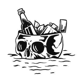 Descanso de caveira com cerveja e flor