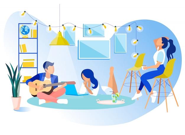 Descanso de partido pausa no plano de escritório de coworking