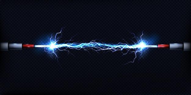 Descarga elétrica passando pelo ar entre dois pedaços de fios nus