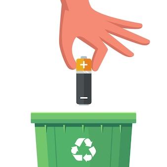 Descarte a bateria em um recipiente especial. ilustração vetorial plana.