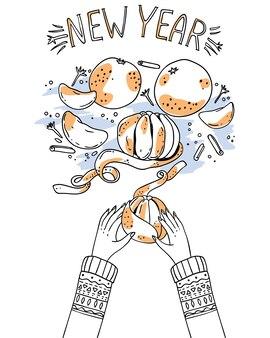 Descascamento de mandarim nas mãos. ilustração de ano novo