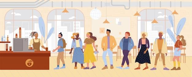 Descolados, designers, estudantes em fila para comprar bebidas, bolos na cafeteria.