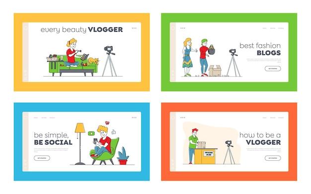 Descompacte o conjunto de modelos de página de destino de vlogging