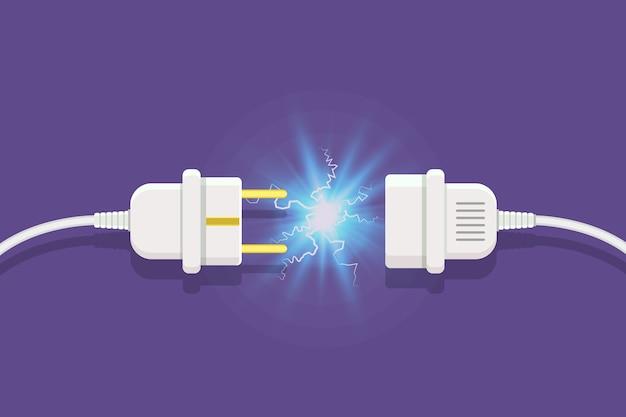 Desconecte o plugue com faísca de eletricidade em estilo plano