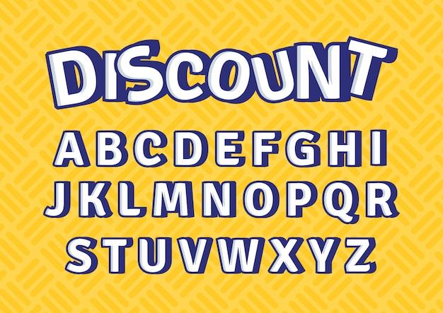 Desconto colorido promoção decoração alfabeto conjunto